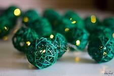 Dark Green Rattan Cane Balls Fairy Light String 3 Meters Long 220V UK / 110V USA