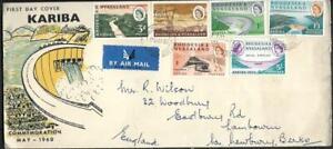 RHODESIA, 1960 KARIBA ISSUE ON UNUSUAL ILLUSTRATED FDC TO UK.