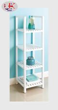 More details for wooden 4 tier bath towel rack shelves storage stand holder caddy shelf unit