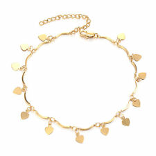 9K Yellow Gold Filled Heart Ankle Bracelet charms Leg Chain Foot Jewelry Anklets
