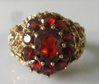 Vintage 9ct yelow gold multi garnet oval cluster ring size O