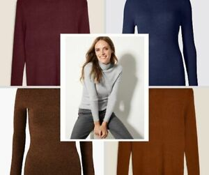 M&S Marks Spencer Womens Ribbed Knit Polo Neck Jumper Size 6-24