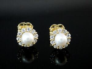 333 Gold kleine Ohrstecker mit Süsswasser Perlen 5,6mm 1 Paar 20 Zirkonia Steine