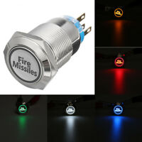 12V 19mm Fire Missiles Metal Momentary Push Button Switch LED Light Car Boat