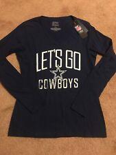 Womens Blue L/S T Shirt NFL Dallas Cowboys Fanatics Small NWT