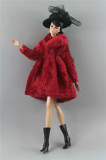 3in1 Fashion outfit claret Winter fur Coats Outfit+boot+Hat For 11.5in.Doll