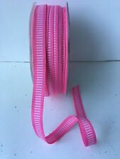 "3/8"" Grosgrain Ribbon w/Horizontal Lines-May Arts-333-17- Pink/White - 5 Yds."