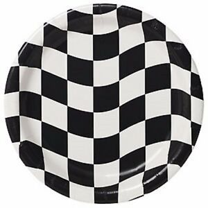 Black & White Check Party Plates 8pk 22cm - Grand Prix Racing Party Supplies