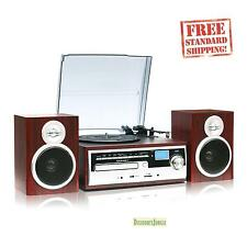 NEW TechPlay ODC28SPK-WD 3-Speed Turntable with CD Cassette SD Card USB player