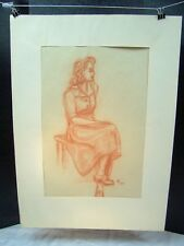 Sitting on a Table Original Red Pencil 1950 by C. Schattauer Kelm
