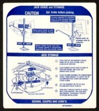 PONTIAC 1968 GTO, LeMans & Tempest Jack Usage Decal 9793661