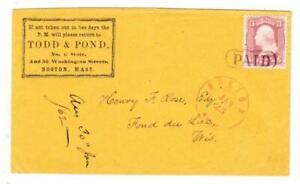 BOSTON(Suffolk County)MASSACHUSETTS-JAN/25/(1862)-PAID-ADVERTISING C/C