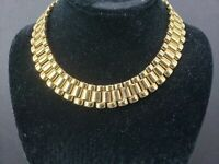 Vintage Signed Carolee Gold Tone Choker Necklace
