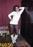 vintage negative! sexy woman in strange black nylon, amazing reflection 1970's