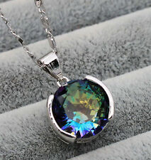 18K White Gold Filled -12MM Blue MYSTICAL Topaz Gemstone Pendant Party Necklace