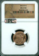 2012-D LINCOLN CENT SHIELD NGC MAC MS67 RED PL 2ND FINEST REGISTRY SPOTLESS *