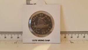 50p Isle of Man 50 pence coin ~ 1976  Viking Ship