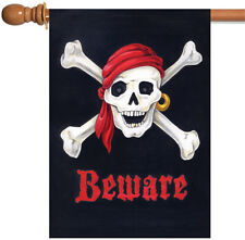 Toland Beware 28 x 40 Pirate Skull Crossbones Double Sided House Flag
