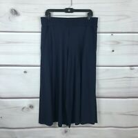AnyBody Womens Cozy Knit Wide Leg Pants Pull On Side Slit Culottes Blue Size M