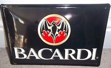 BACARDI CUBAN RUM :EMBOSSED(3D) METAL ADVERTISING SIGN 30X20cm BAT logo,cuba