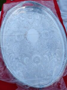Good English Vintage Silver Plate Gallery Tray