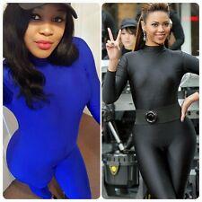 Black/Blue Celebrity Style High Neck Long Sleeve Unitard Catsuit Jumpsuit Dance