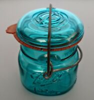 Vintage Ball Ideal Green Glass Canning Jar 77 A6 With Eagle Original Seal