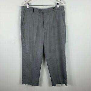 Zegna Mens Pants 54 AU 38-40 Grey Striped Straight Zip Closure