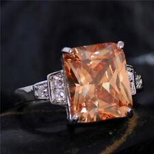 Princess Cut, Big Stone Cubiz Zirconia lady's Ring White Gold Plated Size 7,8,9