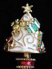 """CANDY CANE TEDDY BEAR BOW PRESENT STAR CHRISTMAS TREE PIN BROOCH JEWELRY 2.5"""" 3D"""