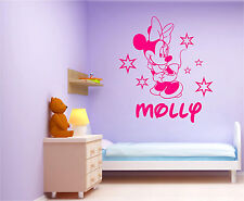 Minnie Mouse wall art sticker Personalised name girl disney large, Mural
