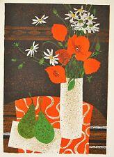 GANNE Yves- Lithographie originale - Bouquet de fleurs