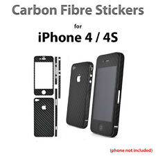 iPhone 4s 4 Carbon Fibre Sticker Skin Decal Vinyl Stickers (Black)