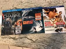 3 Blu Ray Bluray Lot Chappie Point Break Rogue Nation Mission Impossible Covers