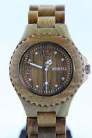 Bewell Holzuhr,Damenuhr,Herrenuhr,Sandelholz grün,41mm,Armbanduhr,Top Geschenk