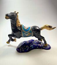 Antique Enamel Hand Painted Horse Sculpture