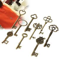 9x Large Skeleton Keys Antique Bronze Vintage Old Look Wedding Decor Pendant