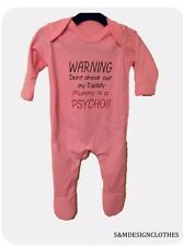 Personalized WARNING Dont check out my Daddy Mummy is a Psycho Baby Grow Gift