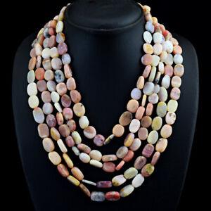 Oval Shape 808 Cts Natural 5 Line Pink Australian Opal Beads Necklace JK 20E303