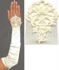 "17"" IVORY FINGERLESS LACE STRETCH SATIN BRIDAL WEDDING PROM PARTY COSTUME GLOVES"