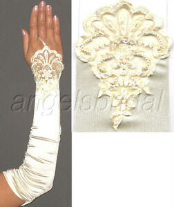 """17"""" Ivory Fingerless Lace Stretch Satin Bridal Wedding Prom Party Costume Gloves"""