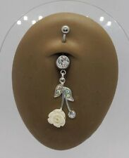"""14g 7/16"""" Jeweled Gem with AB Rainbow Rose Dangle Belly Button Navel Ring NEW"""