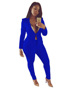 Women Slim Fit Long Sleeve Bodycon Two-piece Sexy Business Pants Suit Set