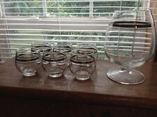 Mid Century Modern  roly poly silver rim cordial glasses w/decanter snifter