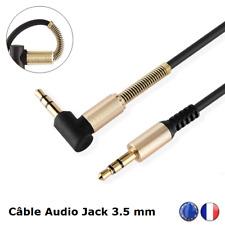 Câble Auxiliaire Adaptateur Prise Jack 3.5mm Male / Male Coudé 90° Stéréo 100 cm