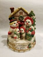 Snowman Family Tabletop Christmas House Wind-up Music Box Vintage Silent Night