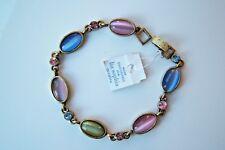 "Lia Sophia MONTAGE Crystal& Cat's Eye Bracelet 7 1/2"" new Blue Pink Green gold"