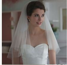 2-Tier New Ivory Short Simple Wedding Veil White With Comb - VL095