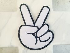 White Finger Peace Sign Retro Hippie Live Embroidered Iron On Patches Patch