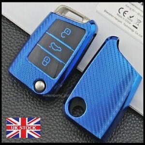 Carbon Blue Key Cover For Seat Leon Ateca Ibiza VW Golf MK7 MK7.5 Case Fob t40*